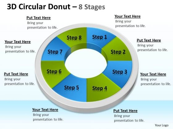 Strategic Management 3d Circular Donut 8 Stages Templates Consulting Diagram