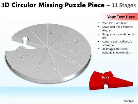 Strategic Management 3d Circular Missing Puzzle Piece 11 Stages Consulting Diagram