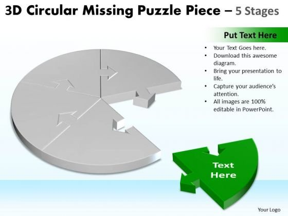 Strategic Management 3d Circular Missing Puzzle Piece 5 Stages Marketing Diagram