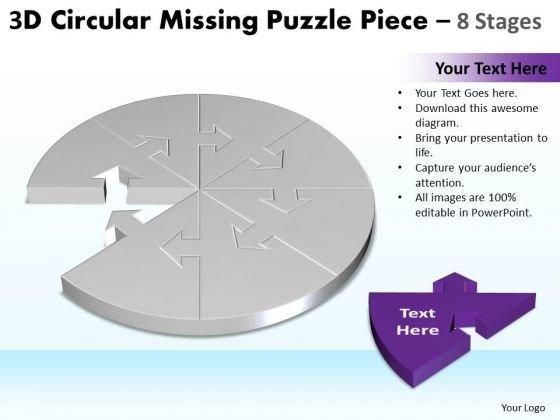 Strategic Management 3d Circular Missing Puzzle Piece 8 Stages 2 Business Diagram