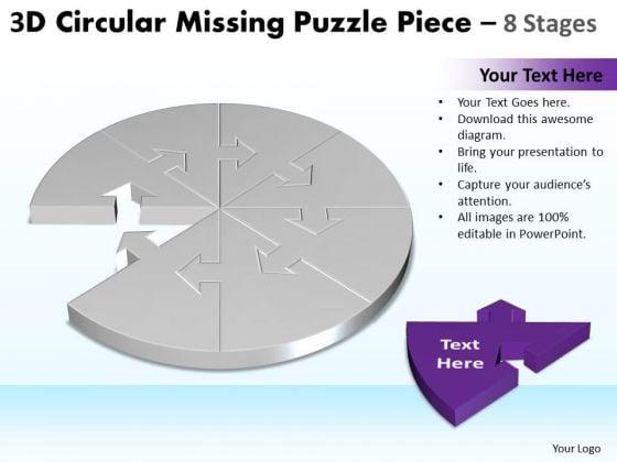 Strategic Management 3d Circular Missing Puzzle Piece 8 Stages 2 Business Diagram