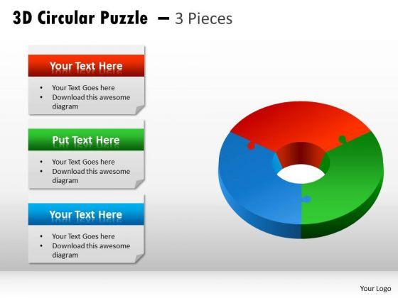 Strategic Management 3d Circular Puzzle 3 Pieces Diagram Sales Diagram