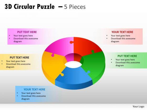 Strategic Management 3d Circular Puzzle 5 Pieces Business Diagram