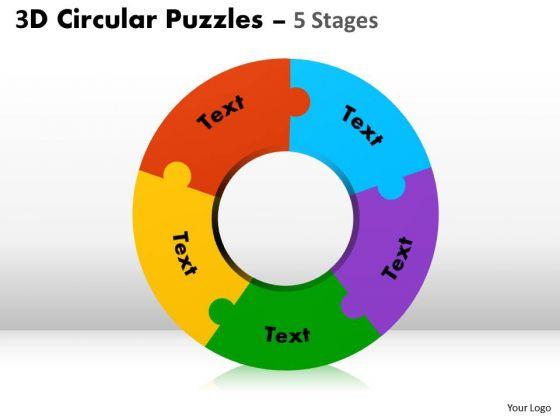 Strategic Management 3d Circular Puzzles 5 Stages Sales Diagram
