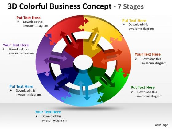 Strategic Management 3d Colorful Business Diagram Concept 7 Stages Business Diagram