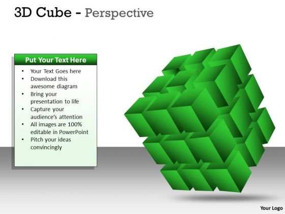 Strategic Management 3d Cube Green Perspective Ppt Marketing Diagram