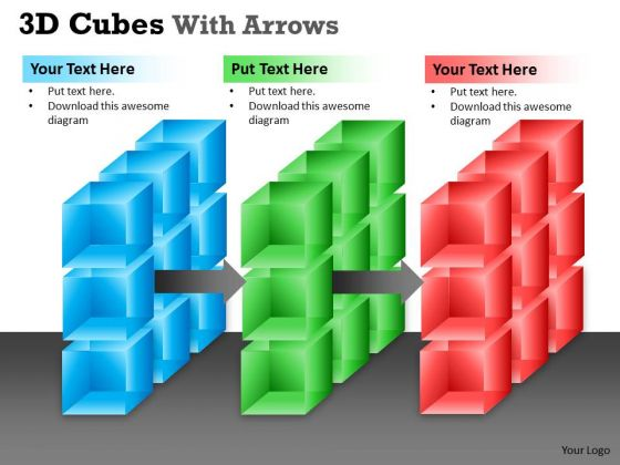 Strategic Management 3d Cubes With Arrows Business Diagram