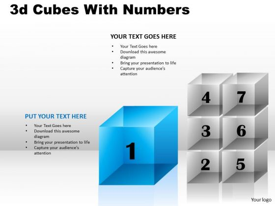 Strategic Management 3d Cubes With Numbers Business Diagram