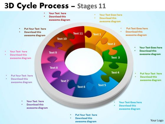 Strategic Management 3d Cycle Process Diagrams Flowchart Stages 11 Style Sales Diagram