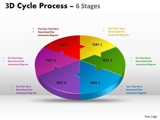 Strategic Management 3d Cycle Process Flow Chart 6 Stages Business Diagram