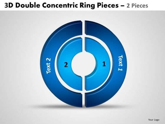 Strategic Management 3d Double Concentric Rings Pieces 6 Sales Diagram
