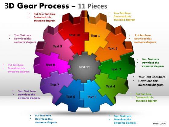 Strategic Management 3d Gear 11 Pieces Style Sales Diagram