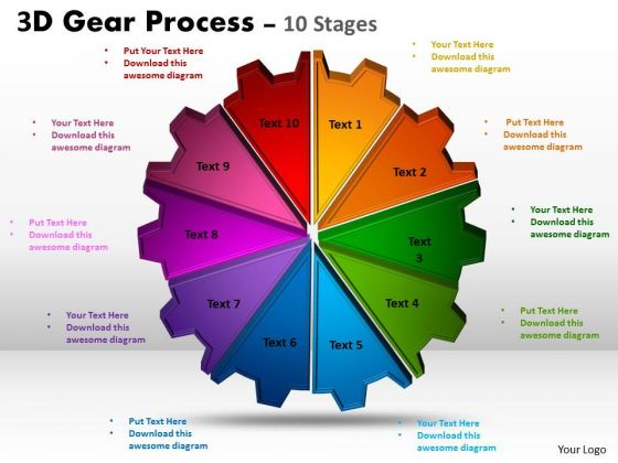 Strategic Management 3d Gear Process 10 Stages Business Cycle Diagram
