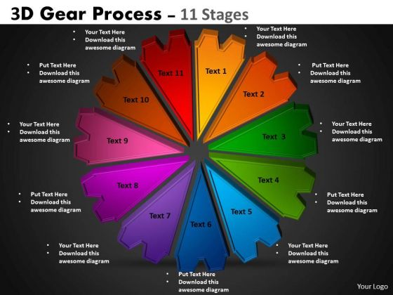 Strategic Management 3d Gear Process 11 Stages Business Diagram