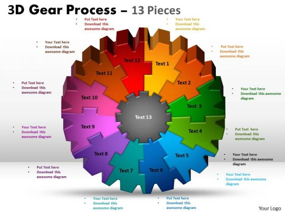 Strategic Management 3d Gear Process 13 Pieces Style Sales Diagram