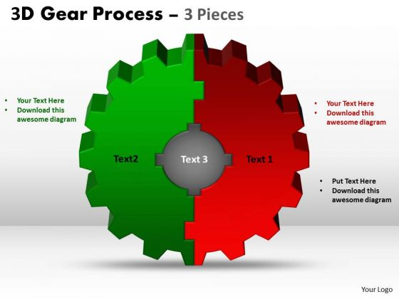 Strategic Management 3d Gear Process 3 Pieces Consulting Diagram