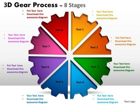 Strategic Management 3d Gear Process 8 Stages Templates Style Sales Diagram