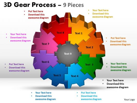 Strategic Management 3d Gear Process Sales Diagram