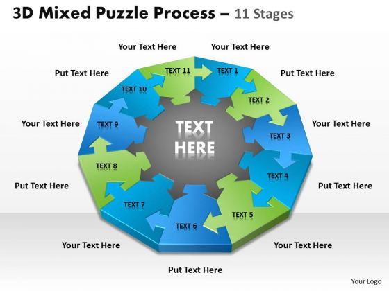Strategic Management 3d Mixed Puzzle Process Consulting Diagram