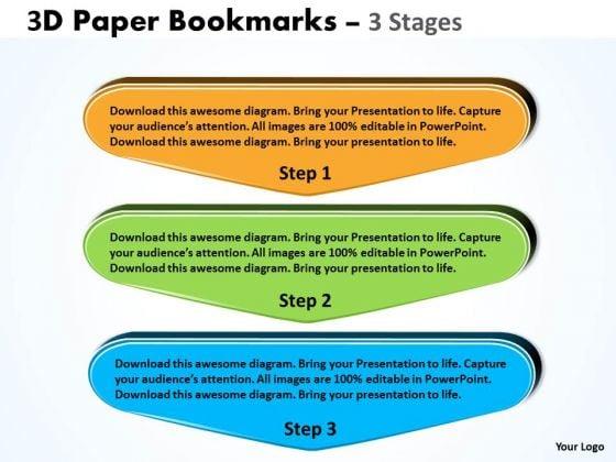 Strategic Management 3d Paper Bookmarks 3 Stages Business Diagram
