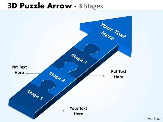 Strategic Management 3d Puzzle Arrow 3 Stages Business Diagram