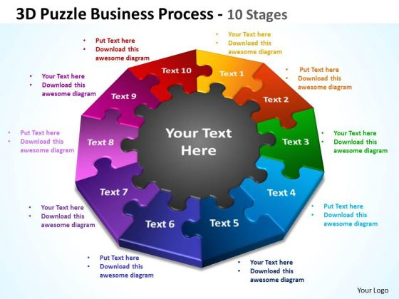 Strategic Management 3d Puzzle Business Process 10 Stages Marketing Diagram