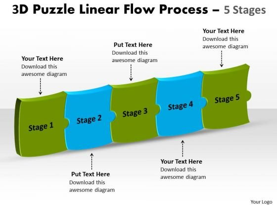 Strategic Management 3d Puzzle Linear Flow Process 5 Stages Sales Diagram