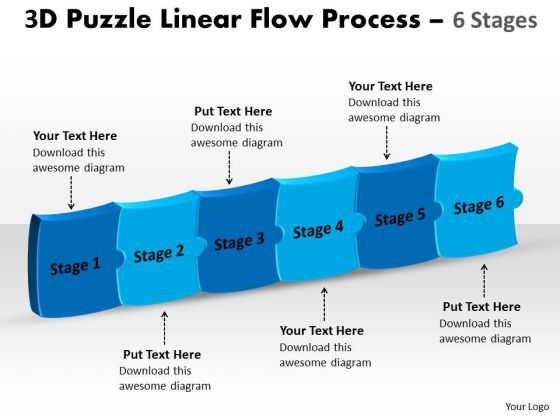 Strategic Management 3d Puzzle Linear Flow Process 6 Stages Sales Diagram