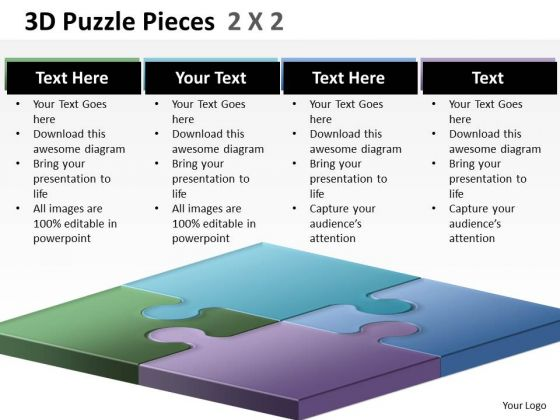 Strategic Management 3d Puzzle Pieces 2x2 Business Diagram
