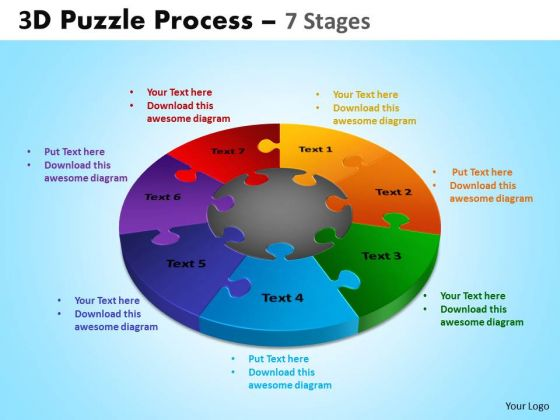 Strategic Management 3d Puzzle Process Diagram Ppt Templates 7 Stages Consulting Diagram