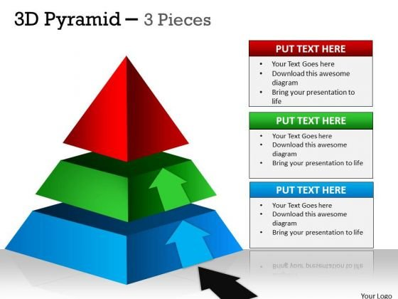 Strategic Management 3d Pyramid 3 Independent Stages Marketing Diagram