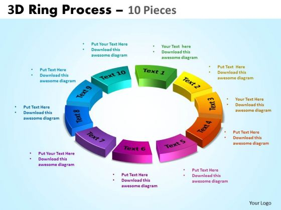 Strategic Management 3d Ring Process 10 Pieces Consulting Diagram