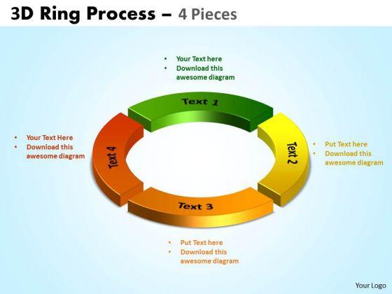 Strategic Management 3d Ring Process 4 Pieces Business Diagram