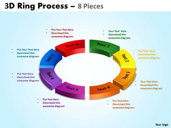 Strategic Management 3d Ring Process 8 Pieces Sales Diagram