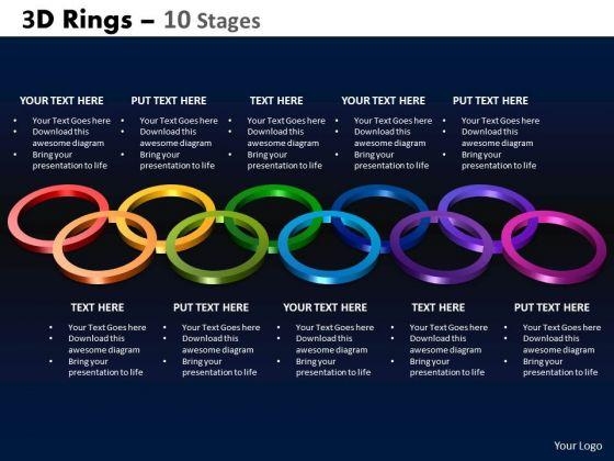 Strategic Management 3d Rings 10 Stages Business Diagram
