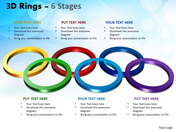 Strategic Management 3d Rings 6 Stages Business Diagram
