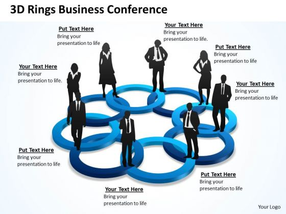 Strategic Management 3d Rings Business Conference Sales Diagram