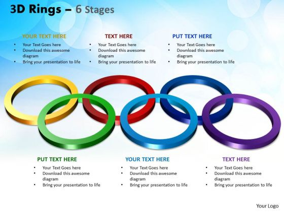 Strategic Management 3d Rings Six Stages Business Diagram