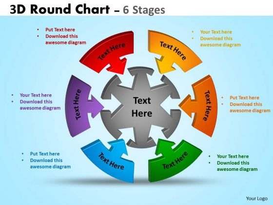 Strategic Management 3d Round Chart 6 Stages Marketing Diagram