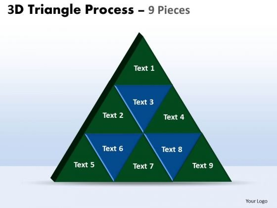 Strategic Management 3d Triangle Process 9 Pieces Business Diagram