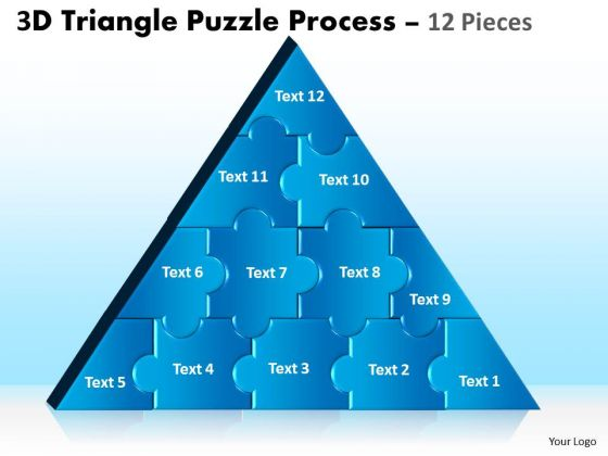 Strategic Management 3d Triangle Puzzle Process 12 Pieces Marketing Diagram