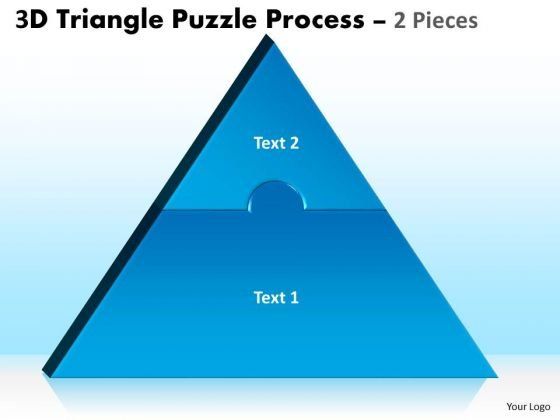 Strategic Management 3d Triangle Puzzle Process 2 Pieces Business Diagram