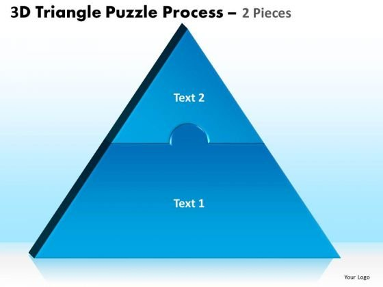 Strategic Management 3d Triangle Puzzle Process 2 Pieces Marketing Diagram