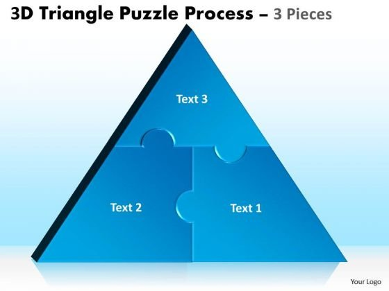 Strategic Management 3d Triangle Puzzle Process 3 Pieces Business Diagram