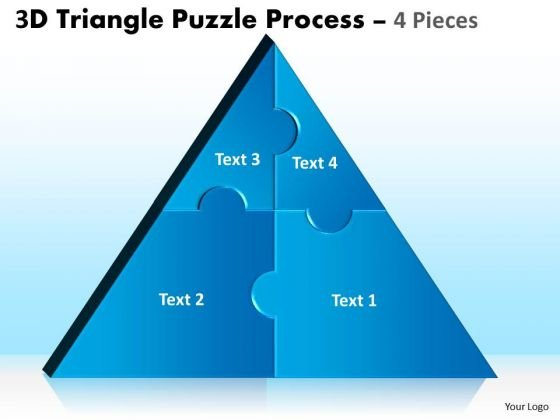Strategic Management 3d Triangle Puzzle Process 4 Pieces Marketing Diagram