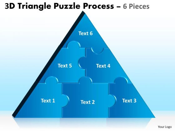Strategic Management 3d Triangle Puzzle Process 6 Pieces Business Diagram