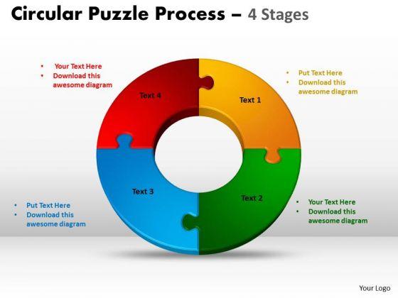 Strategic Management 4 Components Diagram Circular Puzzle Process Sales Diagram