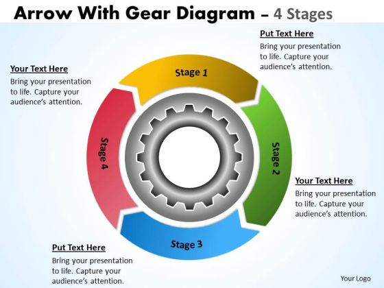 Strategic Management 4 Stages Gears Process For Improvement Business Diagram