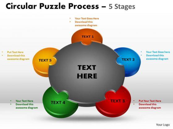 Strategic Management 5 Stages Circular Puzzle Process Business Diagram