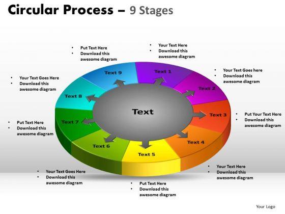 Strategic Management 9 Stages Circular Diagram Process Business Diagram
